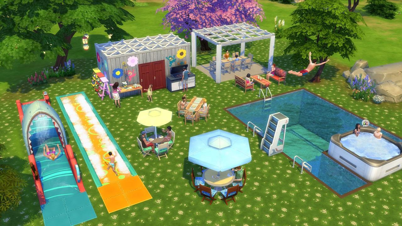Игра в подковы на заднем дворике